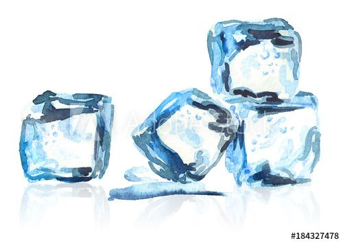 Ice Cubes Isolated Composition Watercolor Hand Drawn Illustration
