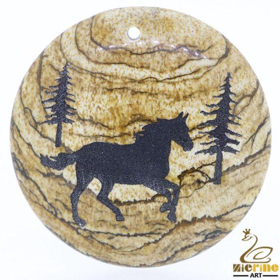 Natural Rare Picture Jasper Gemstone carved Horse Creative Pendant Necklace #ZL #Pendant