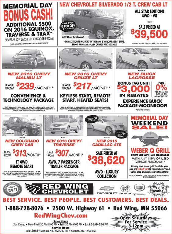 Memorial Day Sales Event ad is officially out! #redwingchevrolet Grills from Red Wing Ace Hardware Hanisch Bakery Gift Card! Josephson's Clothing Gift Card!