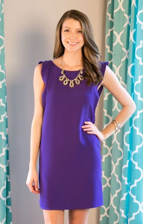 Boysenberry Beauty Dress is a must have for any girl who loves the clean cut classic look! Everly DR2945PUR effortless sundress has a high neckline, flutter sleeve, and straight fit.