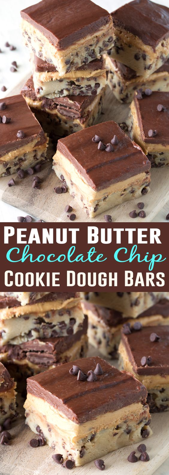 Chocolate chip cookie dough, peanut butter cup filling, and a chocolate ganache create three layers of no bake goodness. No Bake Peanut Butter Chocolate Chip Cookie Dough Bars are simply irresistible!: