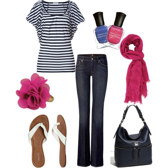 Greta, created by jennifer-garcia-llanes.polyvore.com~Love the pink and navy!