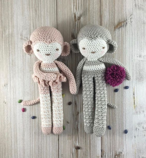 Singe, SUR COMMANDE, Crochet Monkey, singe doux, le jouet, peluche singe : Jeux, jouets par unepelotedelaine