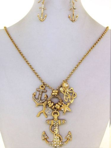 Chunky Anchor Starfish Charm Gold Necklace Earring Set Fashion Costume Jewelry | eBay