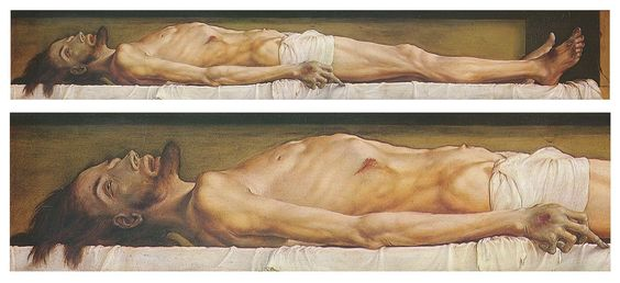The Body of the Dead Christ in the Tomb, and a detail, by Hans Holbein the Younger - Hans Holbein le Jeune — Wikipédia