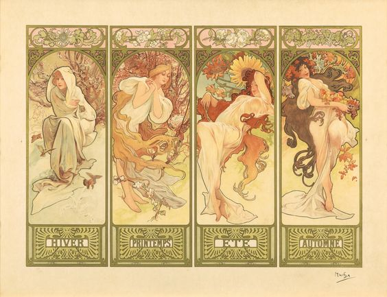 'Les Quatre Saisons' (The Four Seasons) series. (circa 1905) - Alphonse Mucha (1860-1939)
