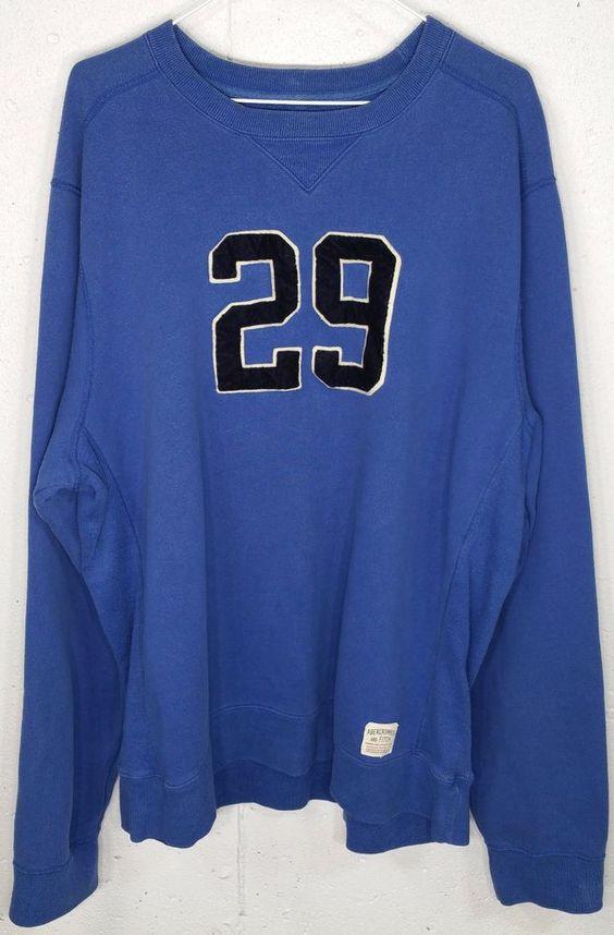A&F Abercrombie Athletic Dept Mens Blue Long Sleeve Crew Neck Sweatshirt XL…