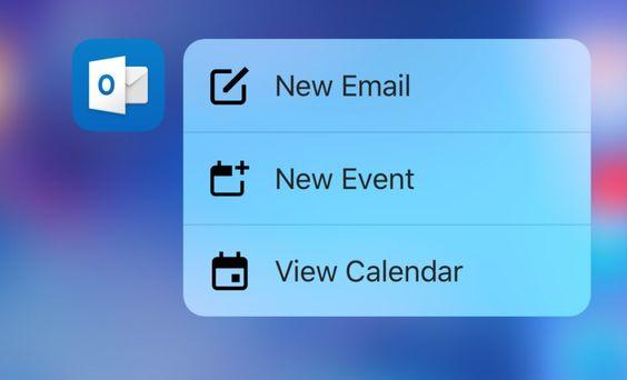 Outlook para iOS recebe suporte ao 3D Touch