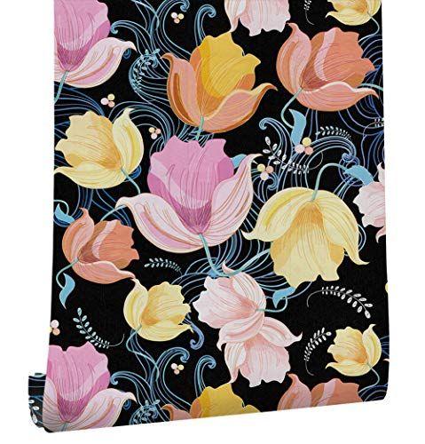 Haokhome 632132 Flower Wallpaper Peel Stick Wall Murals Https Www Amazon Com Dp B07d3pg54y Self Adhesive Wallpaper Flower Wallpaper Colorful Backgrounds