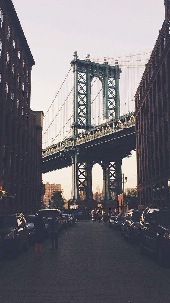 building wallpaper bridge: New York Bridge City Building Architecture Street #iPhone