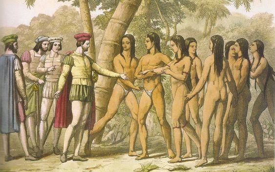 Encuentro entre españoles e indígenas en las islas del Caribe
