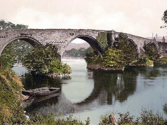 Old bridge, Stirling, Scotland. This color photochrome print was made between 1890 and 1900 in Stirling, Scotland.
