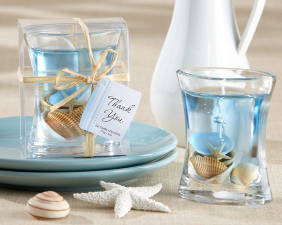 clear candle with seashells, great vacation gift