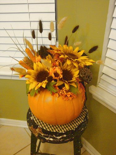 Fall Holiday Decorations, Gourd and Pumpkin Floral Arrangements  Like Sunflowers in the pumpkin