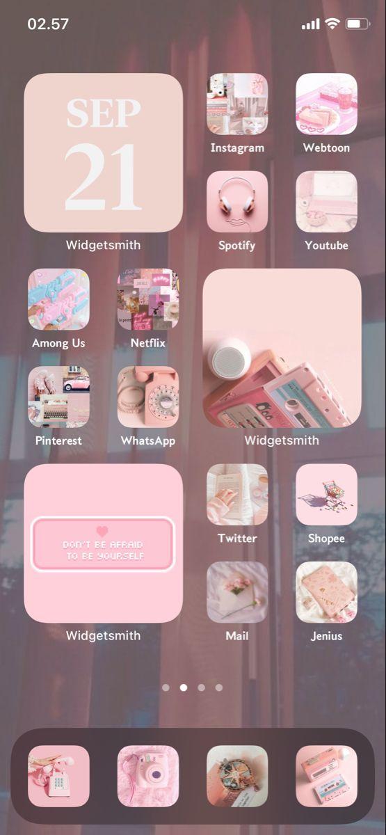 Ios 14 Home Screen Ideas Soft Pink Ios App Iphone Iphone Wallpaper App Iphone Organization