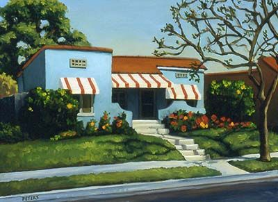 "Tony Peters ""The Blue House"" oil on canvas. Published in the book ""California Light"" by Jean Stern and Molly Siple. http://www.amazon.com/California-Light-Century-Landscapes-Paintings/dp/0847836258/ref=sr_1_1?s=books=UTF8=1339314479=1-1=california+light"