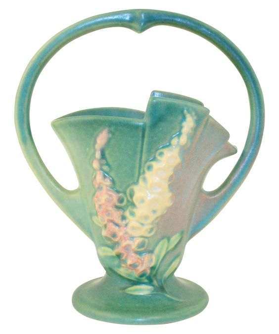 Roseville Pottery Foxglove Green Basket 373-8: