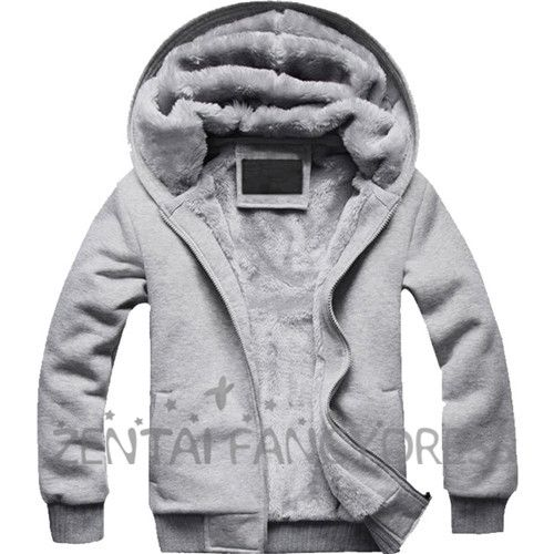 Fashion Mens Winter Thicken Warm Hoodie Gray Coat Slim Fit Jacket Causual Outerwear