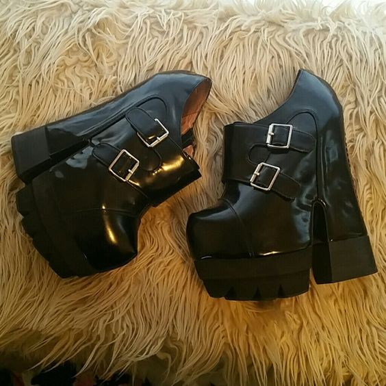 Black leather platforms with buckles Black leather platform booties with buckles across the front and stitches on the back Jeffrey Campbell Shoes Platforms
