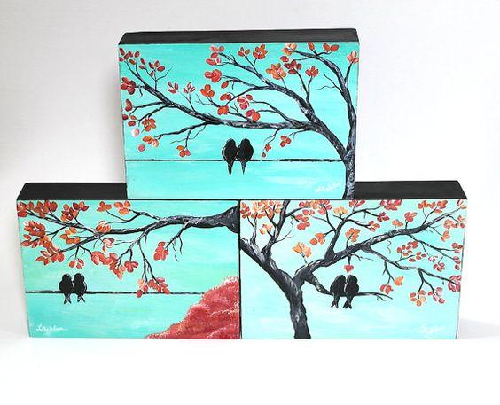 Wedding Gift Paintings: Romantic Gift Original Painting Love Bird Art Paris