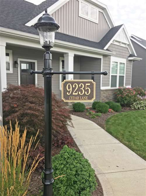 10 Inch Diameter Round Cast Bronze Address Plaque Outdoor Lamp Posts Front Yards Curb Appeal Front Yard Lighting