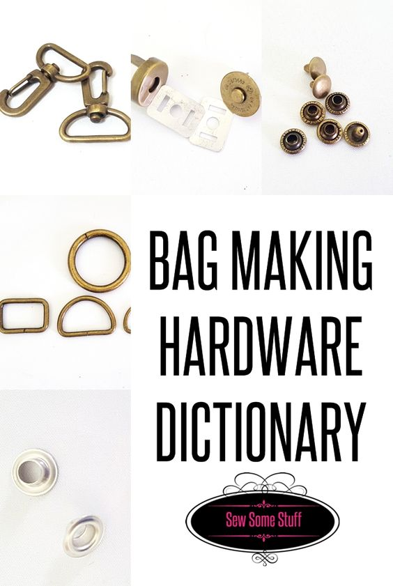 BAG making hardware dictionary on sewsomestuff.com. Are you new to bag making and are looking for a source to get to know all the names of the bag making hardware that you would need to make a gorgeous handmade bag that looks like it's a million dollar worth? Check out THIS post where I have listed in detail the name of all the hardware and where you would use them. READ NOW!