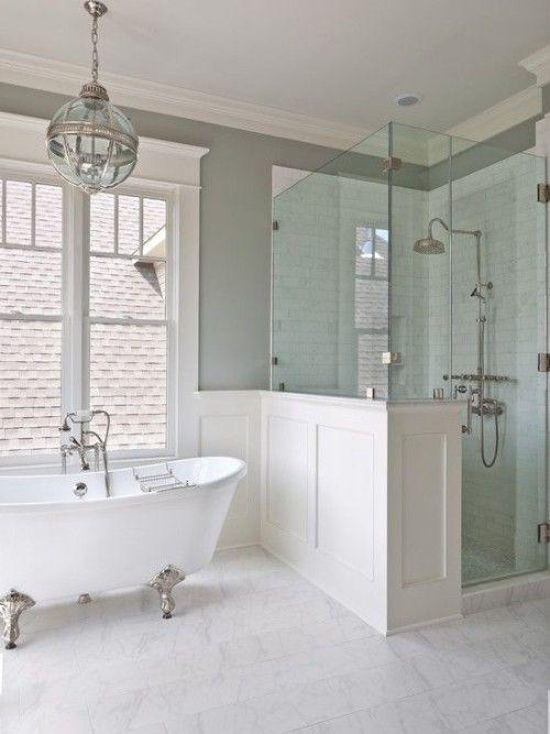 Window trim, wainscoting and marble like master  How To Create a Hamptons Style Bathroom