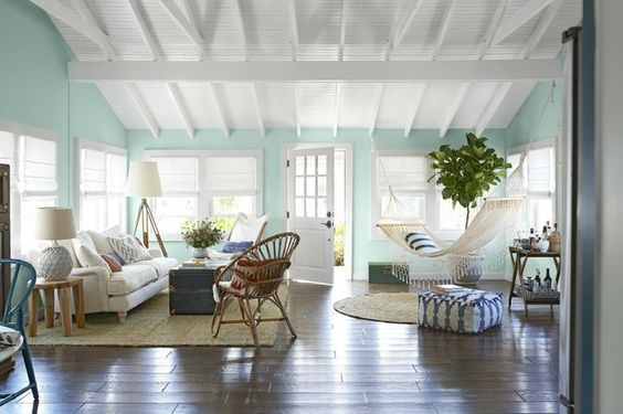 key west style simple white raster ceiling, elevated cross beams, beadboard in between, ?paint blue