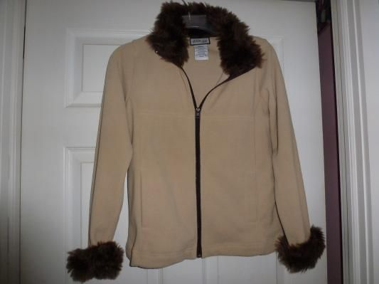 CHICO FUR EDGED SWEATER SIZE SMALL FREE SHIPPING