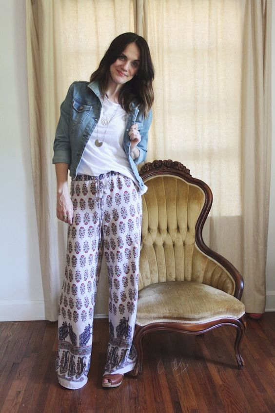 how to wear wide leg printed pants - Pi Pants