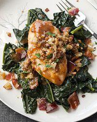braised kale root vegetables vegetables recipe glazes chicken chicken ...