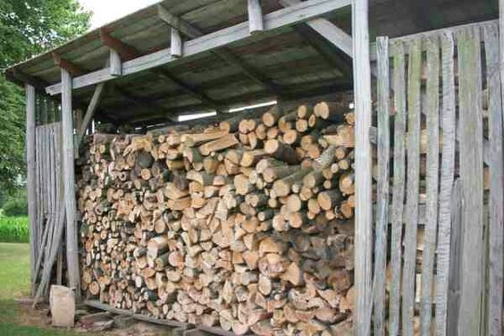 A Woodshed With Firewood ...