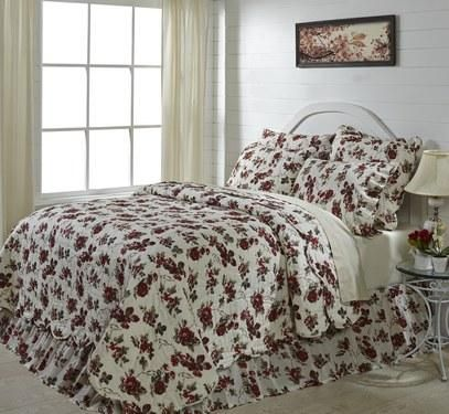 If you love florals then you will love our Mariell quilted bedding! Add accessories to finish off the look your desiring for your room with rugs, curtains, and a bed skirt. https://www.primitivestarquiltshop.com/collections/mariell-bedding #primitivecountrybedroomsbeddingandaccessories