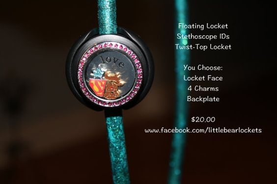 Floating Locket Custom Stethoscope ID tag You Choose Face, 4 Charms, Plate