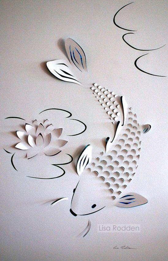Lotus flowers koi and lotus on pinterest for Kirigami paper art