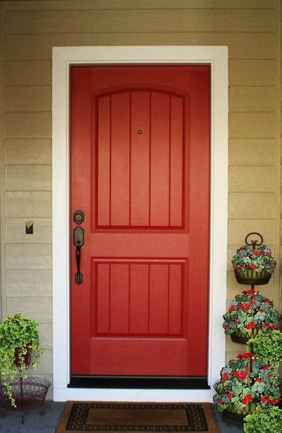 Painted Front Doors Image By Elizabeth Flores On Front Entry Doors Red Front Door Front Door Colors