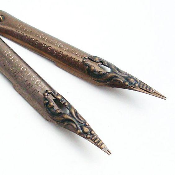 Vintage Pen Nib Earrings: