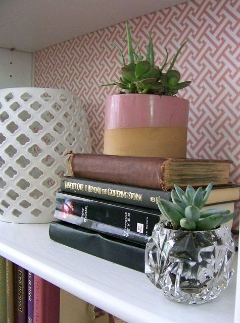 How to decorate bookshelves.... saw on a deco show to use wrapping paper in a funky design instead of wallpaper .. lot cheaper!