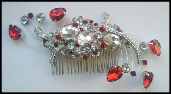Siam red & crystal #haircomb, perfect for a #winterwedding!