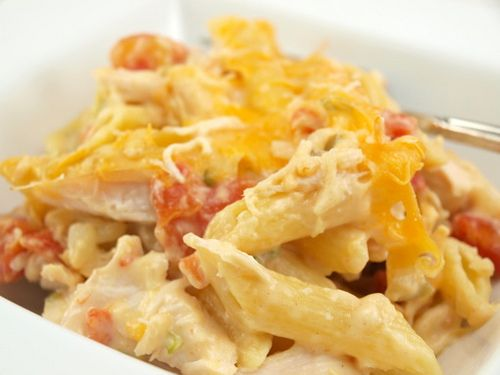 Queso Chicken Pasta. Quick, with simple ingredients --sounds like my kind of cooking!
