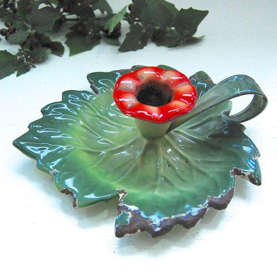 Early Vintage  Enamel Leaf & Flower Chamber by LeGrenierLondon