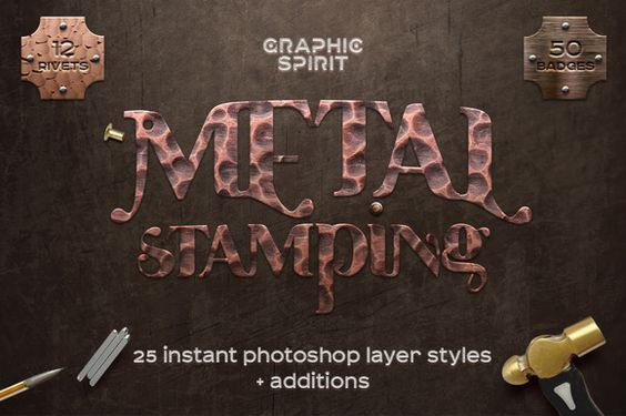 Metal Stamping Photoshop Styles by GraphicSpirit on @creativemarket