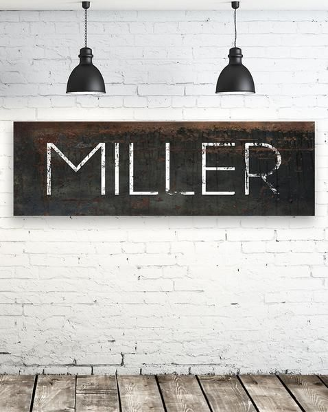 Black Personalized Farmhouse Name Canvas Wall Art Nlsc0127 Name Wall Art Decor Family Name Signs