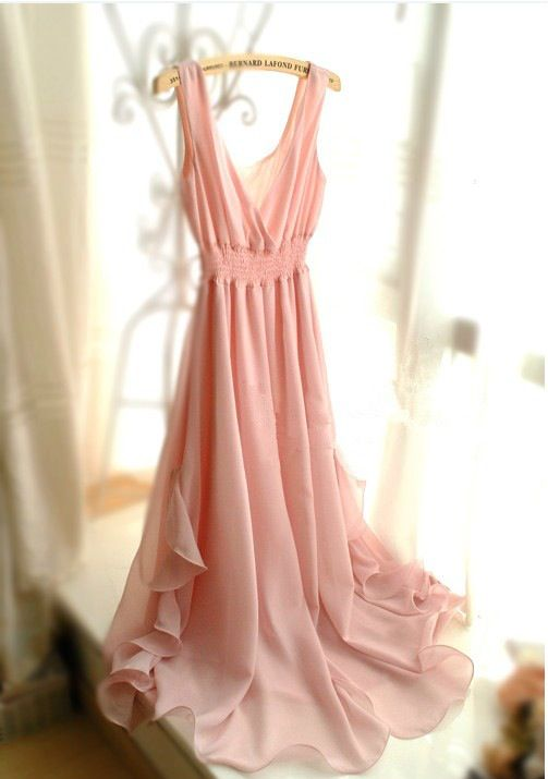 Beautiful pink sleeveless long flowing summer dress - Cute Dresses ...