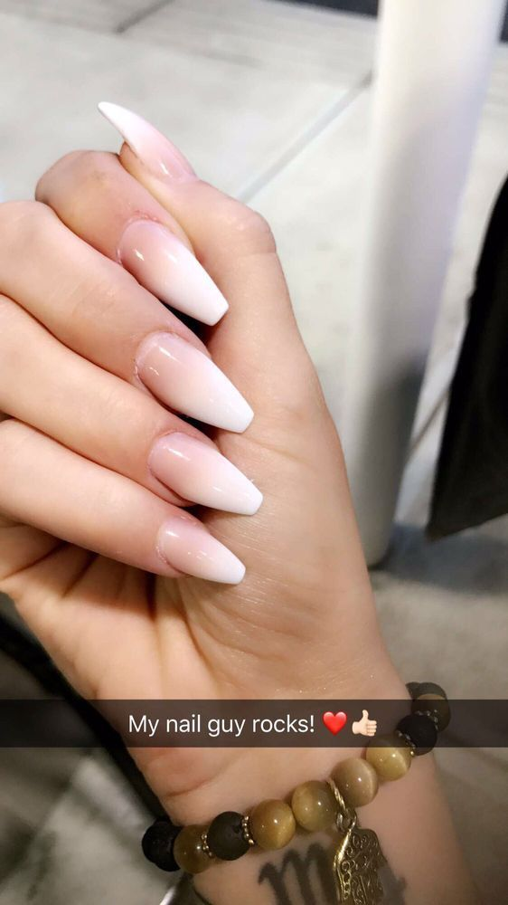 French Fade Acrylic Nails By Kyle And Yes This Cost More And How Much Does A Coffin Na French Manicure Acrylic Nails French Acrylic Nails Glitter Nails Acrylic