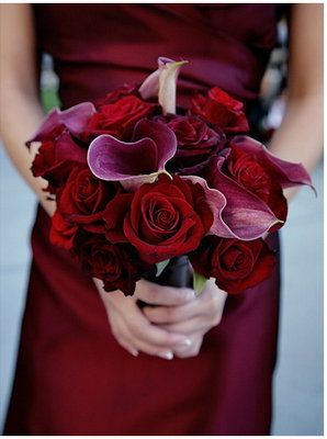 Deep Red With Dusty Lavender Purple Wedding Bouquet
