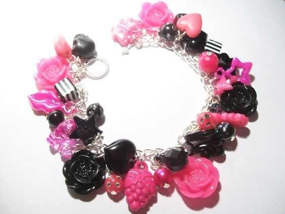 Hot Pink And Black Rose Cabochon Charm Bracelet With Kitschy Charm Acrylic Beads £10.00