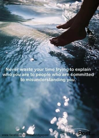Never waste your time trying to explain who you are to people who are committed to misunderstanding you.