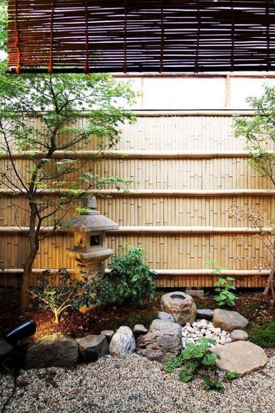 Japanischer Garten Hohe Asthetik Visuelle Harmonie Bambusand Steine Kies Laterne Aus Stein Japanese Garden Japanese Garden Design Zen Garden