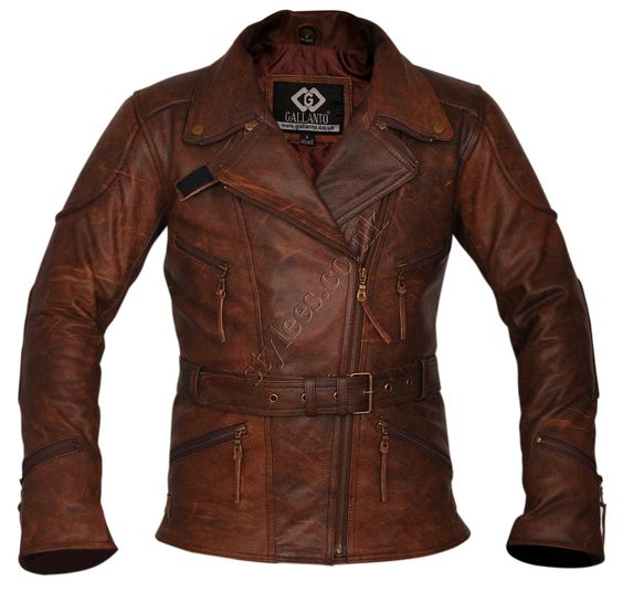 3/4 Eddie Vintage Brown Unisex Biker Leather Jacket | Stylees.co